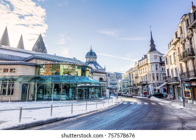 Spa, Belgium - January 18,, 2017: wintry scene in the center of Spa. Spa is one of Belgium's main tourist cities. The town is famous for several natural mineral springs, and the world's first Casino