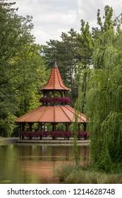 Spa Bojnice, Slovakia, Europe. Tower restaurant in garden park.