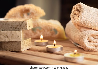 spa, candles, natural organic soaps, plants, natural loofah, towels, fragrance in incense, in a warm place for skin treatments
