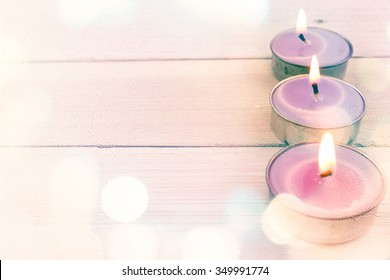 spa candles on white wooden in soft color and blur style for background