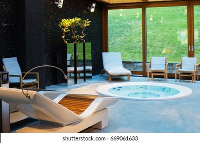 Spa center with hot tub