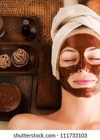 Spa Chocolate Mask.Facial Spa. Chocolate Treatments. Beauty Spa Salon
