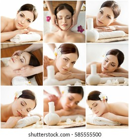 Spa collage: different types of massage. Massaging, spa, wellness, health care and healing therapy