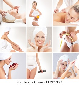 Spa collage made of many different elements