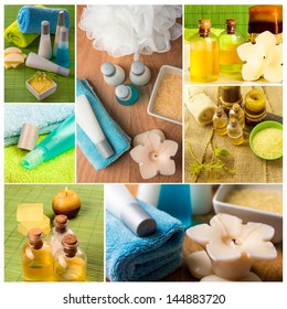 Spa collage series. Collage of wellness products. Soap, candles, and towels in fresh dayspa setting.