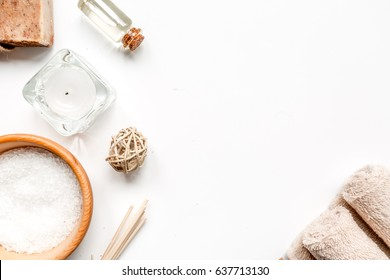 spa composition for body care on white background top view mock up