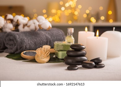 Spa composition with Christmas decoration. Holiday SPA treatment.  Zen and relax concept.