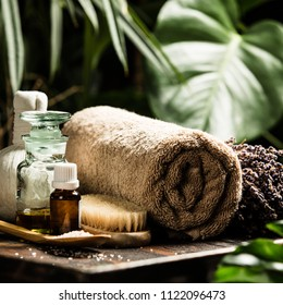 SPA composition on tropical background