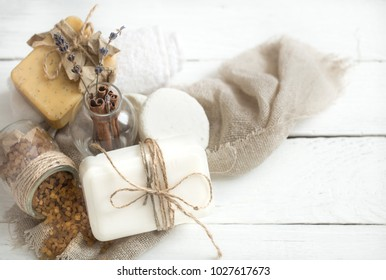 spa composition with soap, spa relaxation concept