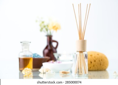 Spa concept with Aromatherapy, Air Freshener, essential oil and Bath Sponge