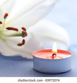 spa concept candle and lily