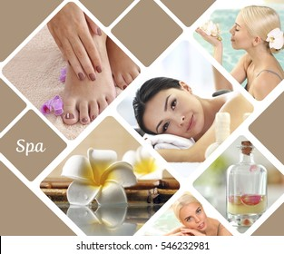 Spa concept. Luxury treatment collage