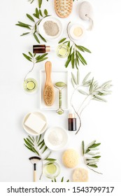 Spa concept with olive oil and olive leaf extract natural cosmetic ingredients, flat lay composition