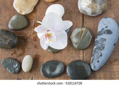 Spa concept with orchid flower and massage stones covered with water drops on wooden background