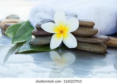 spa concept with stones, flowera and leaves for massage treatment on white background