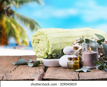 Spa concept with tropical beach, relax exotic , therapy massage