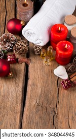 spa concept, wellness objects on wood plant , christmas background. Present holiday concept.