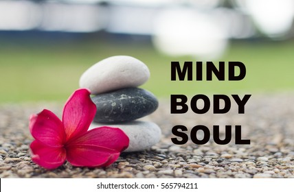 Spa concept of zen stones with deep ref plumeria flower. Word Mind body soul.