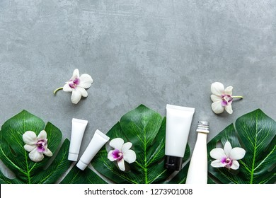 Spa cosmetic products organic green concept, spa beautiful massage on concrete background top view and copy space for text,  Thai Spa relax and treatment for body healthy.