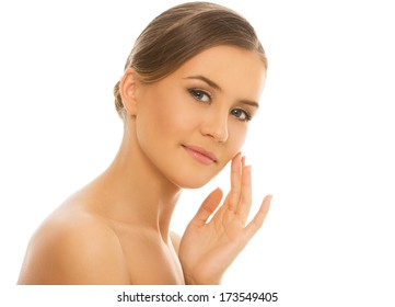 Spa. Cute woman with perfect, clean skin