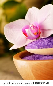 Spa elements - salt with flower of orchid