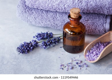 SPA, essential oil with lavender flowers - health and beauty
