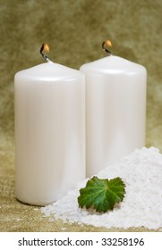Spa essentials, bath salt and candles