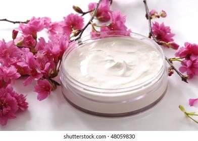 Spa essentials cream and cherry flower