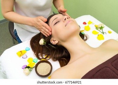 Spa face massage. Face skin care. Spa treatment at beauty salon.