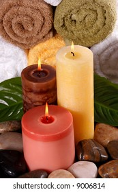 Spa feeling including candles and towels