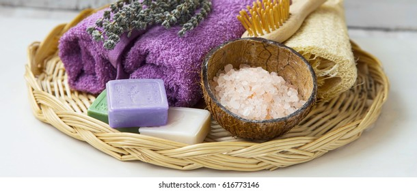 Spa items setting with natural soaps and salt, wellness still life body-care product