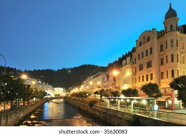 "spa ""Karlovy Vary"" by night"