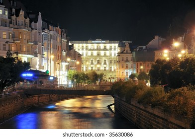 "spa ""Karlovy Vary"" by night,""Tepla"" river"