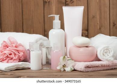 Spa Kit. Shampoo, Soap Bar And Liquid. Toiletries.