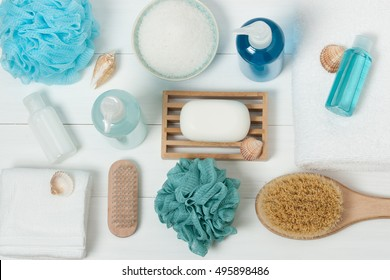 Spa Kit. Shampoo, Soap Bar And Liquid. Shower Gel. Top View