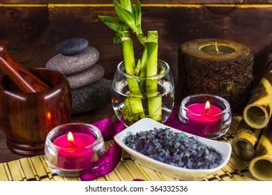 Spa lavender salts and bamboo