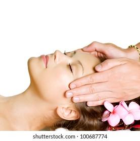 Spa Massage . Beauty Woman Getting Facial Massage . Day-Spa