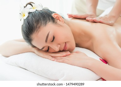 Spa and massage concept,  Asian beautiful woman  Relaxing  massage spa treatment