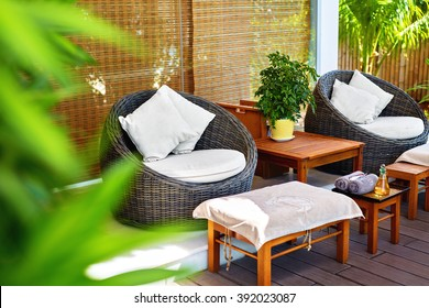 Spa Massage Salon. Image Of Rohtang Chairs And Stylish Furniture In Garden Terrace Of Luxury Health & Beauty Centre In Asia. Interior Design