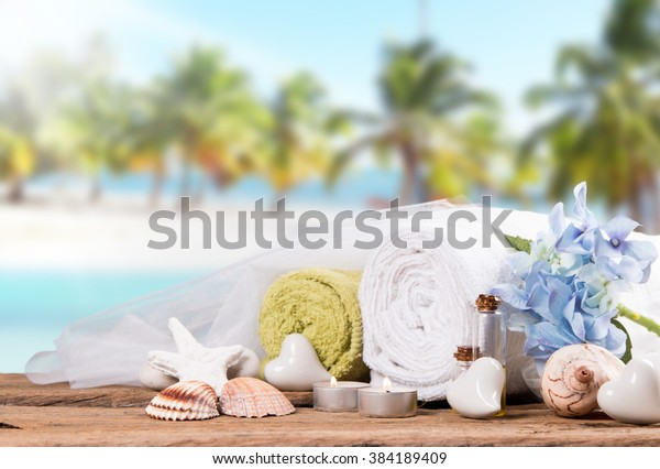 Spa Massage Setting On Wood Tropical Stock Photo (Edit Now) 384189409