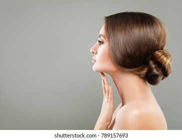 Spa Model, Female Face Closeup. Healthy Woman with Clear Skin, Skincare Concept