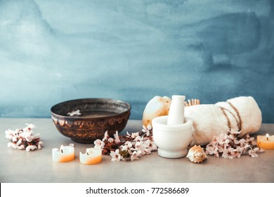 Spa natural concept. Dayspa cosmetics products. Spa and wellness setting.