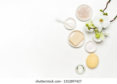 Spa natural cosmetic products background, flat lay composition with blank space for a text