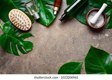 Spa natural products concept, beauty background with a space for a text, flat lay