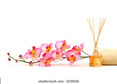 Spa objects on isolated white background