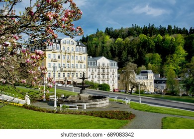 Spa park - Goethe square - center of the small west bohemian spa town Marianske Lazne (Marienbad) - Czech Republic