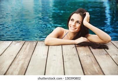 spa in pool, woman
