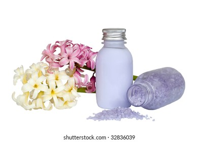 Spa products including bath salts and flowers