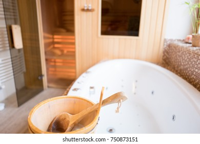 Spa And Relaxation Room With Sauna And Hydro Massage Bath With Bucket And  Ladle