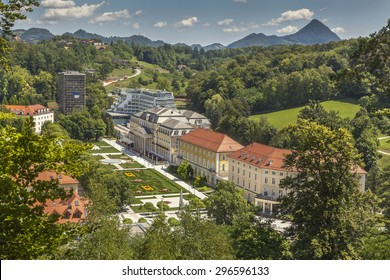 Spa resort Rogaska Slatina in Styria (Stajerska) with mountain Donacka gora in background, Slovenia